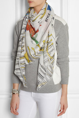 Christopher Kane Floral-print modal and cashmere-blend scarf