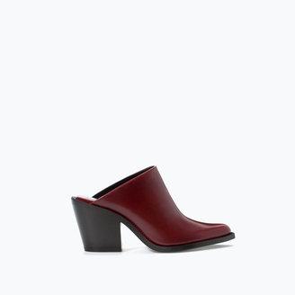 Zara Leather High Heeled Slingback Bootie