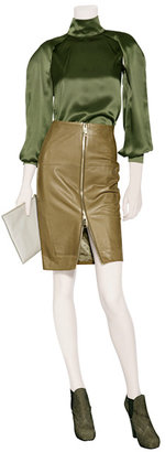 Hakaan Khaki Leather Pencil Skirt