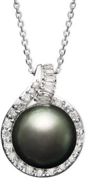 Macy's 14k White Gold Necklace, Cultured Tahitian Pearl (12mm) and Diamond (1/2 ct. t.w.) Pendant