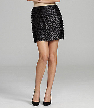 M.S.S.P. Scallop Faux-Leather Skirt