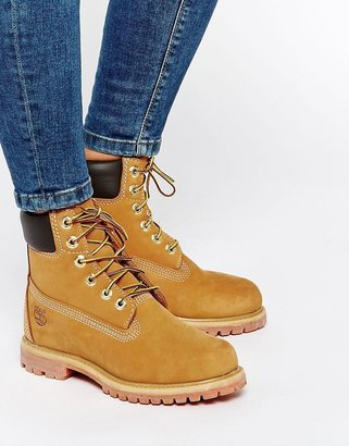 Timberland 6 inch premium lace up beige flat boots