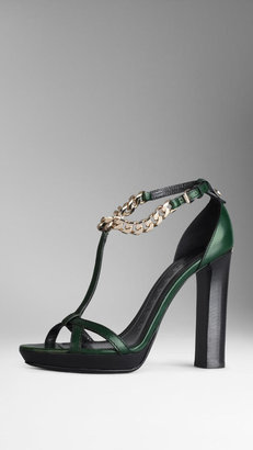 Burberry Bridle Leather Chain Platform Sandals