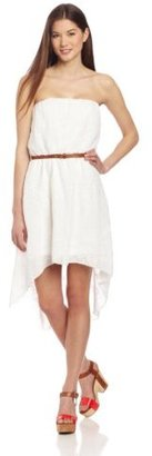 My Michelle Juniors Strapless High Low Belted Dress