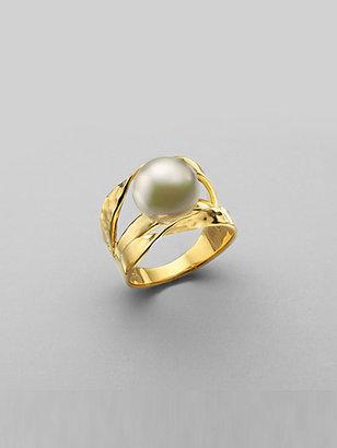 Majorica 12MM White Pearl Ribbon Ring