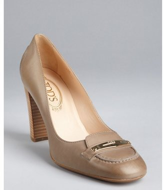 Tod's khaki leather sqaure toe stacked heel loafer pumps