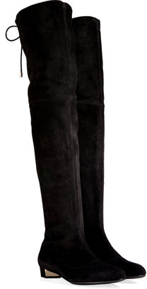 Vionnet Suede Over-The-Knee Flat Boots in Black