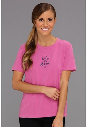 Life is Good Stacked LIG Crusher Tee (Hot Fuchsia) - Apparel