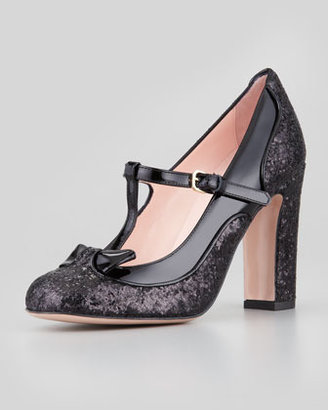 RED Valentino Mary Jane Patent & Glitter Pump, Black