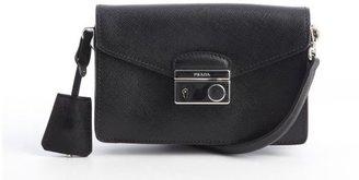 Prada black leather convertible crossbody bag