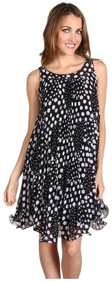 Muse Polka Dot Pleated Swing Dress (Black/White) - Apparel