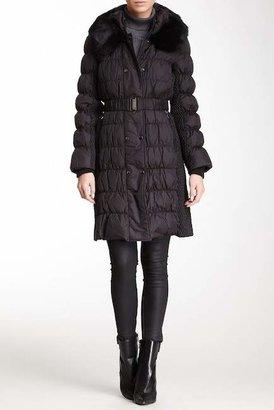 Via Spiga Genuine Dyed Rabbit Fur Collar Puffer Coat $354 thestylecure.com