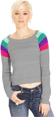 Oh!MG Juniors' Sweater, Long Sleeve Cropped Striped