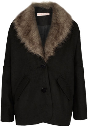Topshop **Fur Collar Coat by Oh My Love