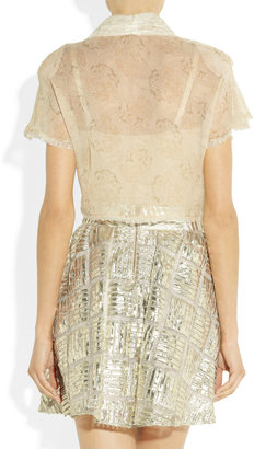 Anna Sui Cotton-blend lace and silk-chiffon top