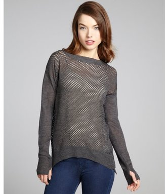 Rebecca Taylor charcoal wool blend perforated long sleeve sweater