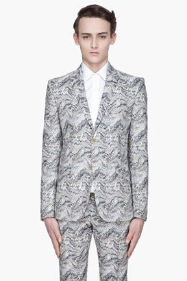 Thierry Mugler Blue and beige Printed two-Button blazer