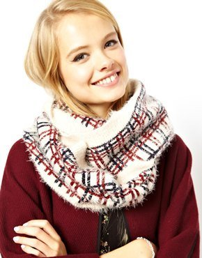 Asos Check Fluffy Knit Snood - Red