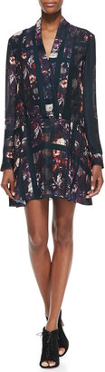 Thakoon Long-Sleeve Plaid & Floral-Print Dress