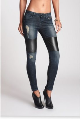 GUESS Patched Brittney Mid-Rise Denim Leggings with Zips
