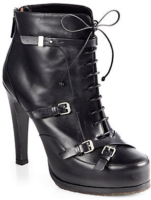 Tabitha Simmons Hannah Leather Lace-Up Motorcycle Ankle Boots