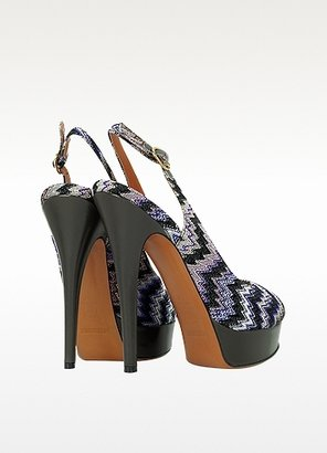 Missoni Purple Fabric Platform Slingback