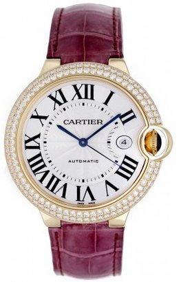 Cartier excellent (EX Ballon Bleu Men's 42mm Automatic 18k Yellow Gold & Diamond Watch WE900751