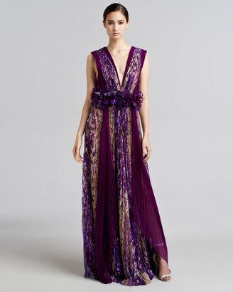 J. Mendel Floral-Print Plisse Silk Gown