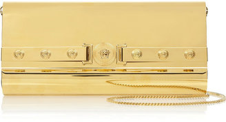 Versace Leather-trimmed gold-tone clutch
