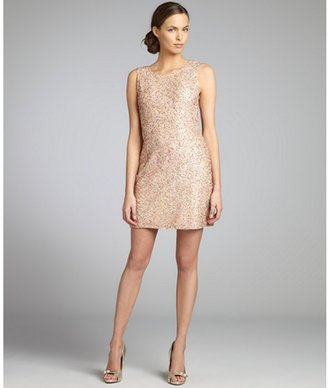 Romeo & Juliet Couture peach sequined and metallic woven shift dress