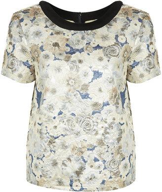 Topshop Premium Quilted Floral Tee