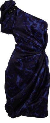 Marchesa One Shoulder Leopard Print Dress