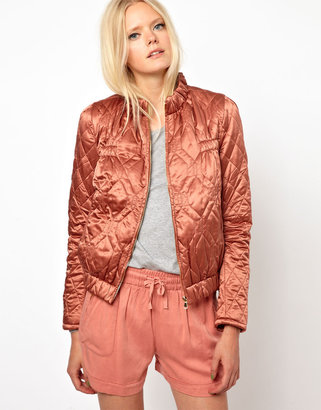 See by Chloe See by Choe Quilted Bomber Jacket In Silk Cotton