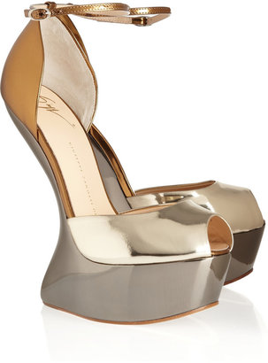 Giuseppe Zanotti Cutout-wedge metallic leather sandals