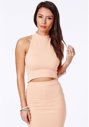 Missguided Lacey High Neck Ribbed Crop Top In Peach
