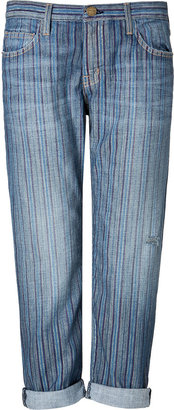 Current/Elliott The Boyfriend Jeans in Multi Stripe