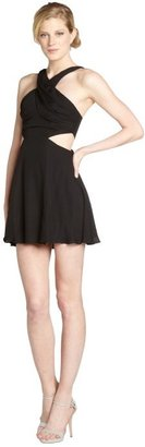 Jay Godfrey black silk cutout halter dress