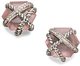 David Yurman Rose Quartz & Diamond Stud Earrings