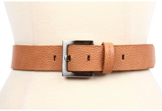 Calvin Klein 1 3/8 Buckle w/ Logo Embossed Loop (Tan) - Apparel