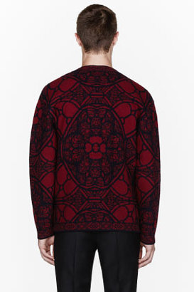 Alexander McQueen Burgundy stained glass cardigan
