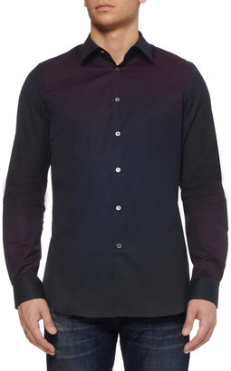 Paul Smith Slim-fit Ombre Panelled Cotton Shirt