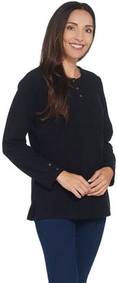 Denim & Co. Baby Sherpa Henley Tunic w/ Side Slits