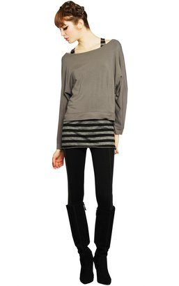 Alice + Olivia Boatneck Dolman With Rib Combo
