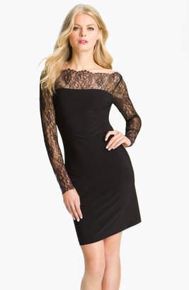 ABS by Allen Schwartz Lace Sleeve Jersey Sheath Dress