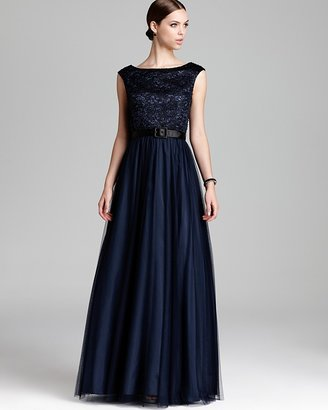 Aidan Mattox Belted Ball Gown - Embellished Lace Top