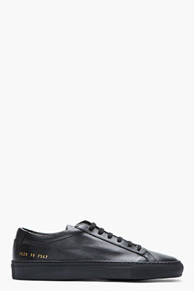 Common Projects Black Leather Achilles Low-Top Sneakers