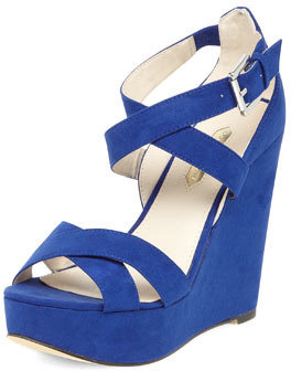 Dorothy Perkins Cobalt cross strap wedges