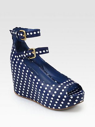 Marc by Marc Jacobs Polka Dot Leather Wedge Pumps
