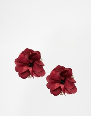Asos Fabric Flower Stud Earrings - Berry
