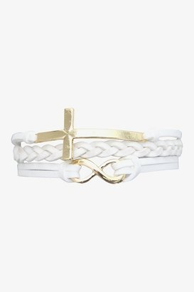 White & Gold Cross Cord Bracelet
